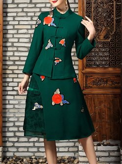 Green Two Piece Stand Collar Embroidered Long Sleeve Midi Dress
