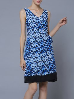 Blue Printed Casual H-line Abstract Midi Dress