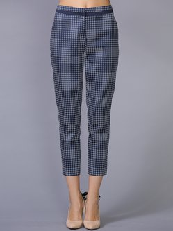 Blue Paneled Geometric Cotton-blend Casual Cropped Pants