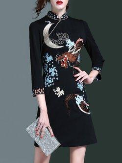 Embroidered 3/4 Sleeve Vintage Mini Dress