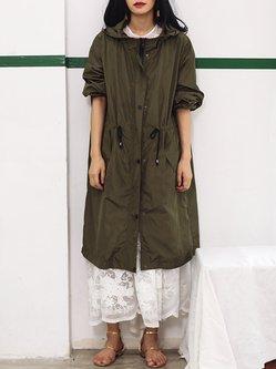 Army Green 3/4 Sleeve Pockets Plain Coat