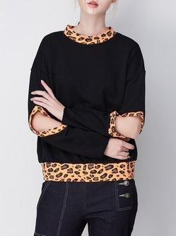 Cutout Casual H-line Long Sleeve Cotton Cutout Sweatshirt