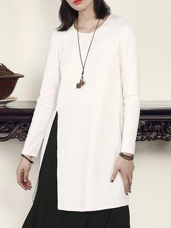 White Slit Long Sleeve Shift Cotton Plain Tunic