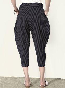 Black H-line Stripes Simple Wide Leg Pants