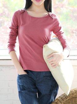 Pink Buttoned Plain Cotton-blend Long Sleeve Top