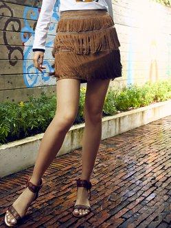 Khaki A-line Vintage Fringed Mini Skirt