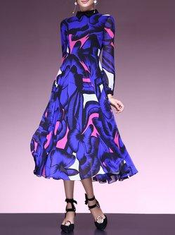Purplish Blue Peter Pan Collar Floral Printed Swing Midi Dress