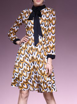 Mustard A-line Simple Bow Stand Collar Printed Midi Dress