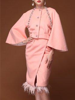 Frill Sleeve Elegant Crew Neck Wool Two Piece Midi Dress
