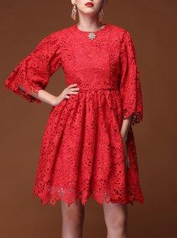 Balloon Sleeve Lace Elegant Midi Dress