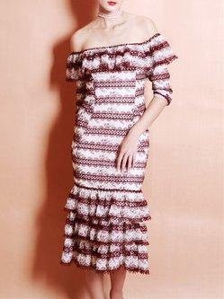 Red Elegant Stripes Ruffled Mermaid Midi Dress