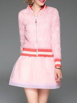 Pink Elegant Two Piece Stand Collar Mini Dress