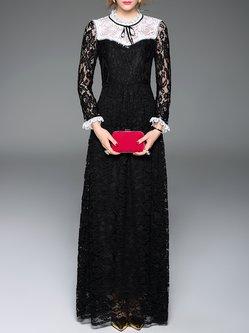 A-line Casual Lace Pierced Long Sleeve Maxi Dress