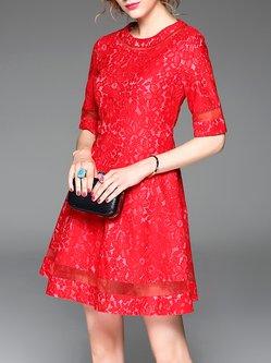 Red Half Sleeve Pierced Plain Mini Dress
