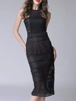 Slit  Guipure lace Sleeveless Sheath Statement Dress