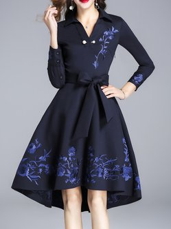 Blue Bow Shirt Collar Floral Embroidered High Low Wrap Dress
