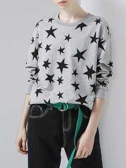 H-line Long Sleeve Crew Neck Star Casual T-Shirt