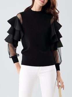 Crew Neck Casual Ruffled Knitted Long Sleeve Sweater