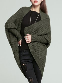 Dark Green Knitted Lapel Casual Cardigan