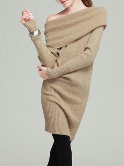 Sheath Wool Blend Solid Long Sleeve Simple Sweater