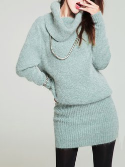 Mint Knitted Wool Blend Cowl Neck Long Sleeve Sweater