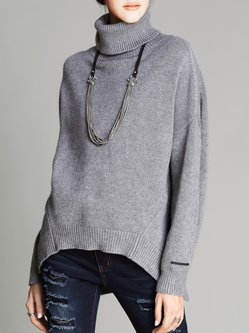 Simple Batwing Turtleneck Slit Sweater