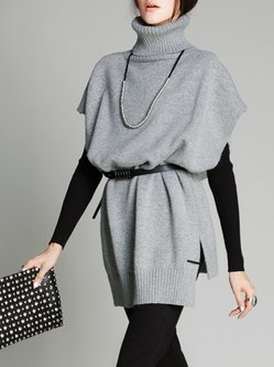 Light Gray Batwing Knitted Sweater with Belt