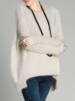 Simple Batwing Crew Neck Solid Sweater