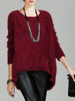 Wine Red Simple Shift Crew Neck Sweater