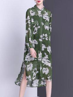 Slit Floral Casual High Low Shirt Dress