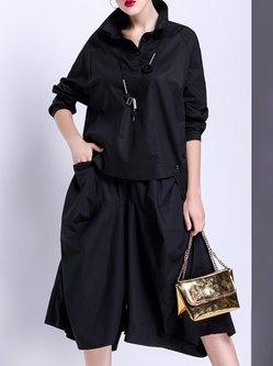 Black Shirt Collar High Low Cotton Simple Blouse