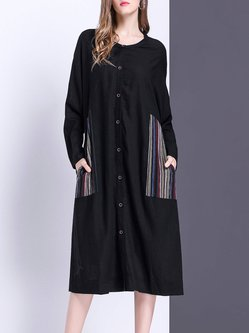 Black Buttoned Paneled Stripes Casual Midi Dress