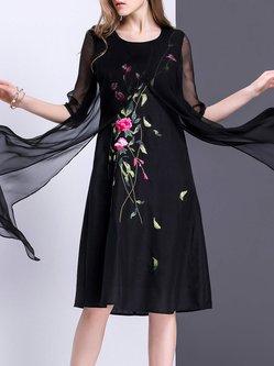 Floral Vintage A-line Embroidered Midi Dress