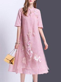 Beaded Keyhole Vintage Half Sleeve Silk Midi Dress