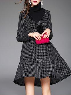 Black Turtleneck Printed Casual Midi Dress
