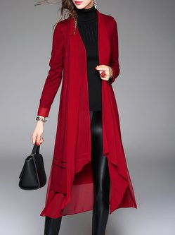 Casual Long Sleeve Paneled Open Collar Plain A-line Coat