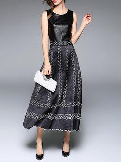 Black Crew Neck Embroidered Sleeveless Maxi Dress