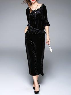 Black Casual Two Piece Off Shoulder Velvet Jumpsuit