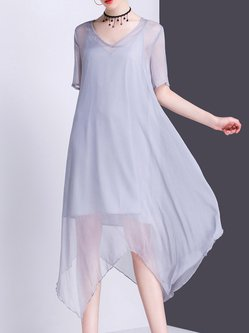 V Neck Short Sleeve Solid Two Piece Midi Dress