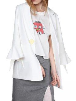 Lapel Frill Sleeve Polyester Elegant Blazer
