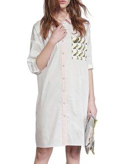 Statement Printed Cotton-blend 3/4 Sleeve Shirt Dress
