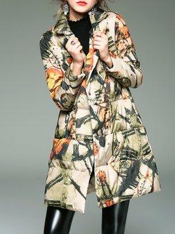 Multicolor Long Sleeve Printed Lapel Coat