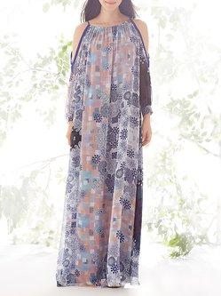 Polyester Boho Long Sleeve H-line Maxi Dress