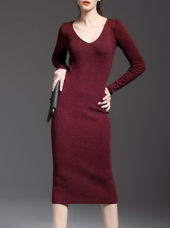 Sheath Simple V Neck Long Sleeve Plain Midi Dress