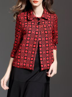 Red Jacquard Vintage Cropped Jacket