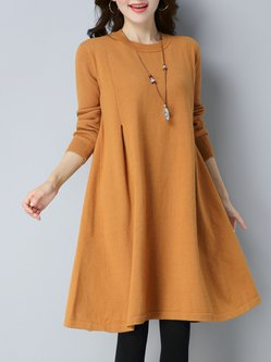 Casual Solid Folds Sweater Dress