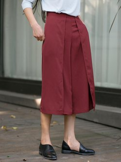 Red Casual Polyester Pockets Plain Wide Leg Pants