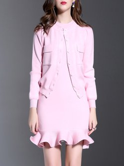 Pink Knitted Two Piece Ruffled Casual Mini Dress