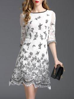 White Crocheted Frill Sleeve Sheath Mini Dress