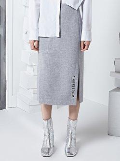 Gray Plain Embroidered Statement Bodycon Midi Skirt